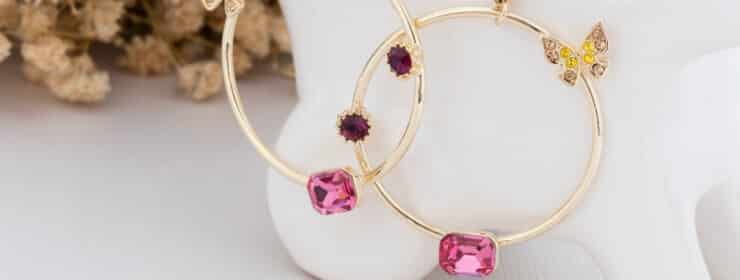 Earrings with pink gems