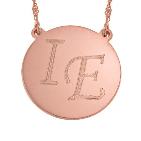 Disc Necklace with Two Initials