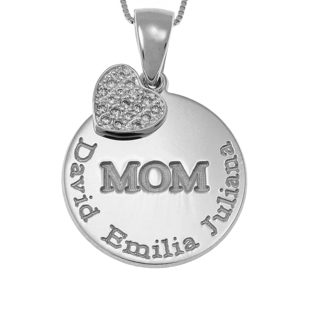 Engraved Mom Disc Necklace With Inlay Heart silver