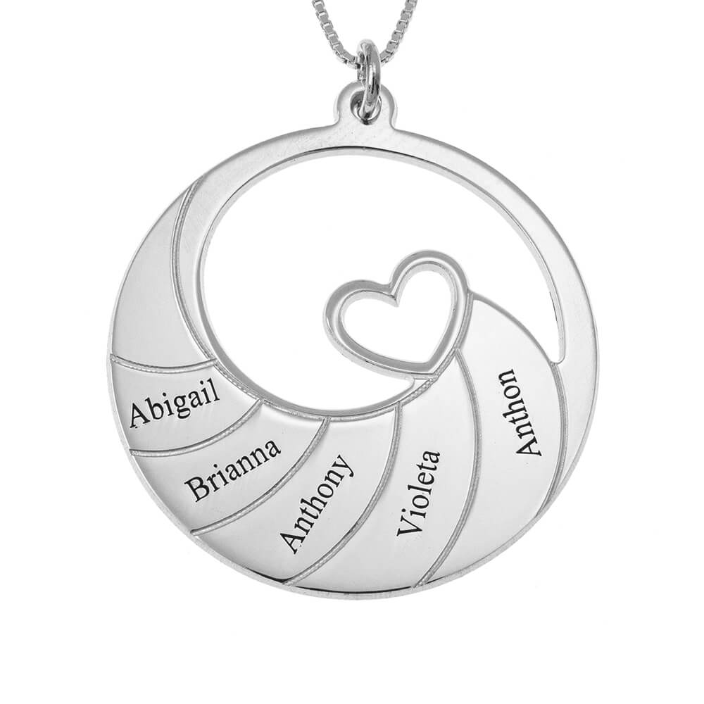 Five Names Spiral Necklace silver