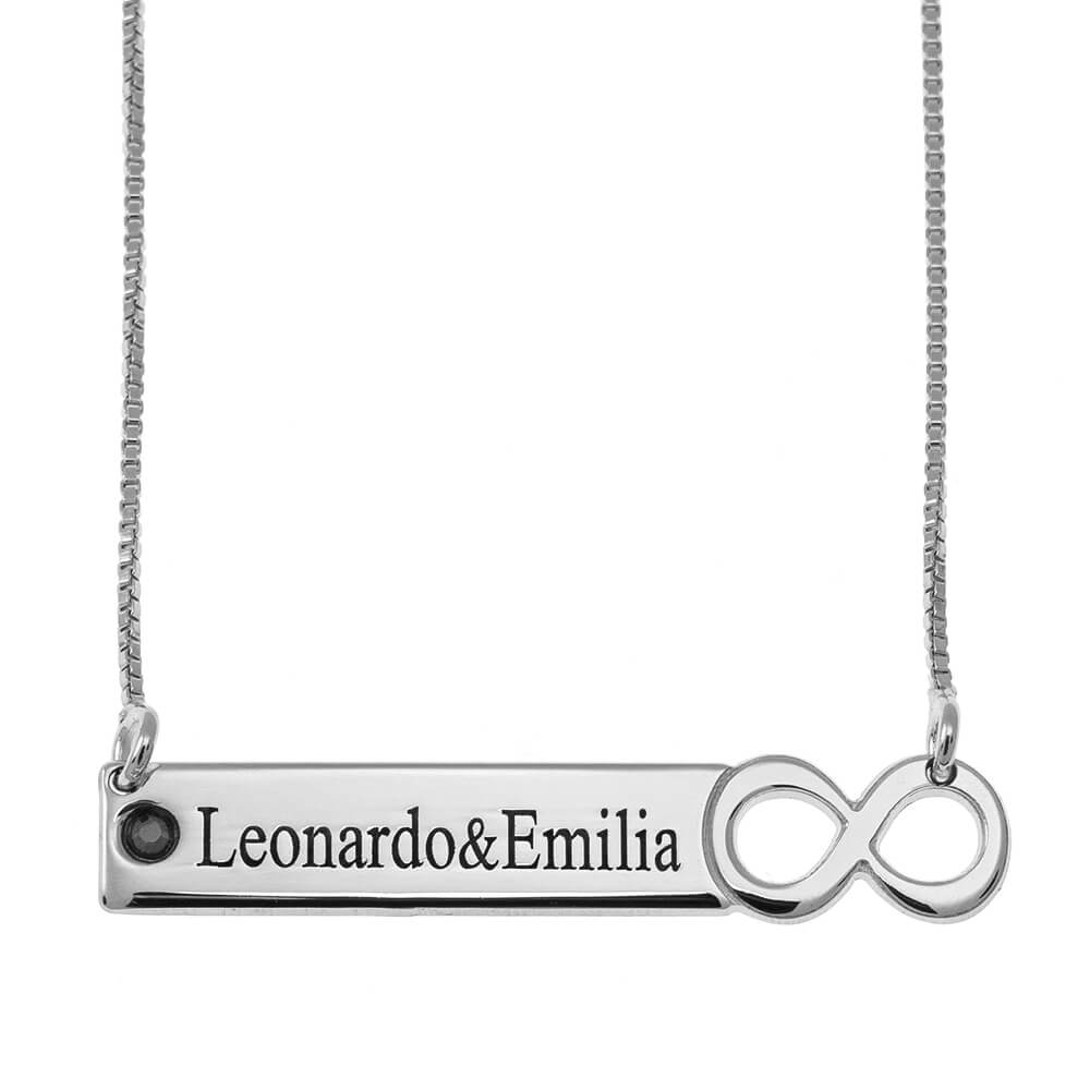 Infinity Bar Necklace with engraving silver