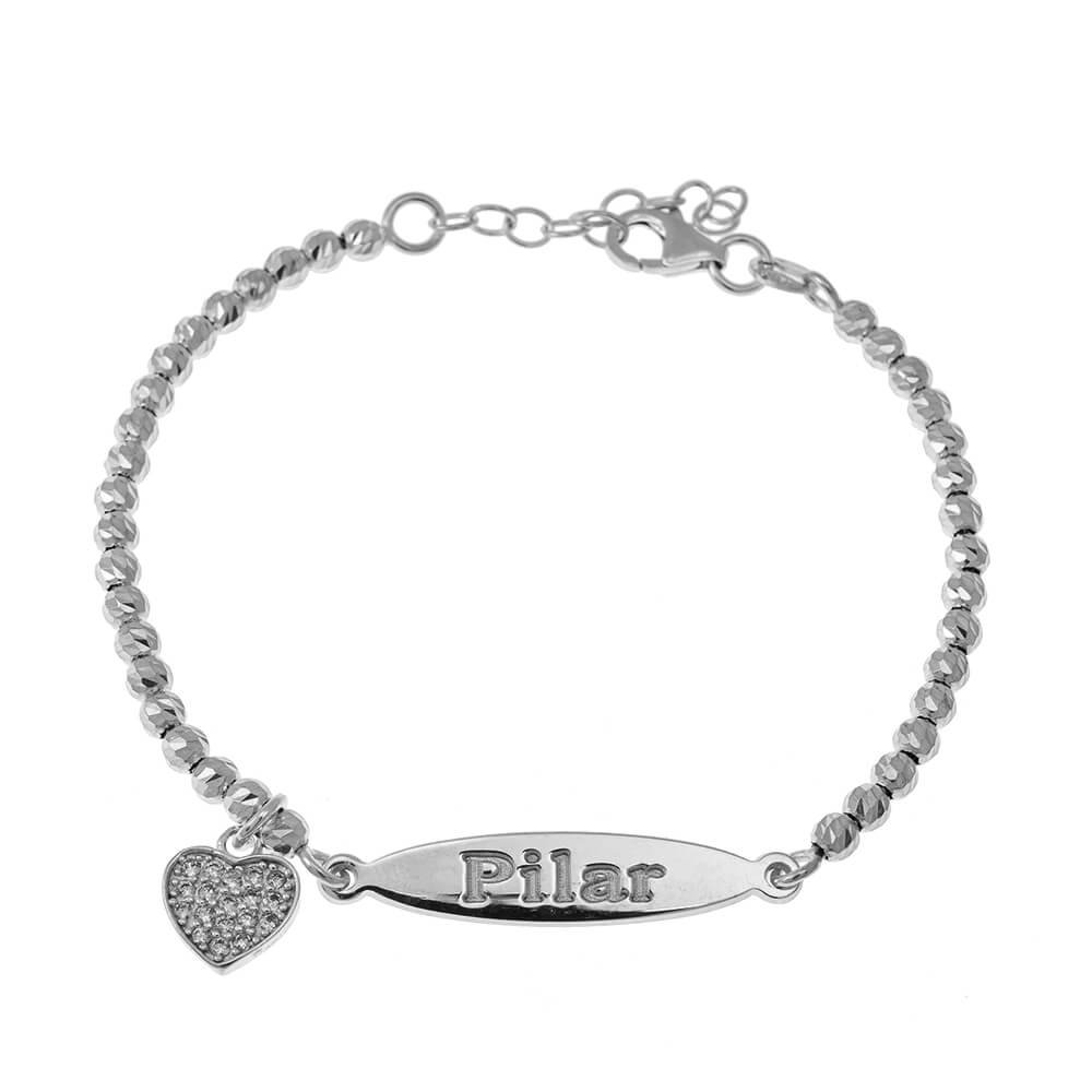 Oval Name Bead Bracelet With Inlay Heart Pendant silver