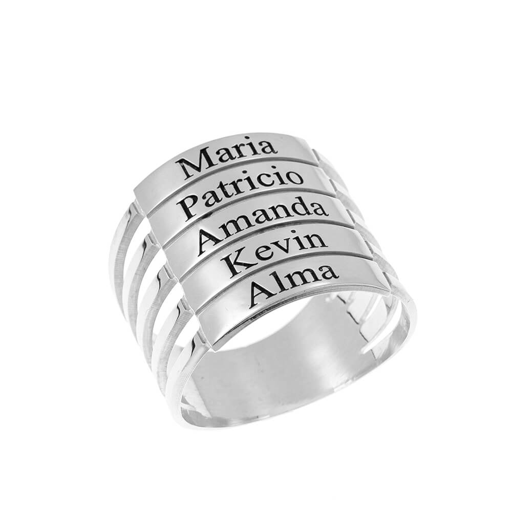 five Stackable Names Ring silver