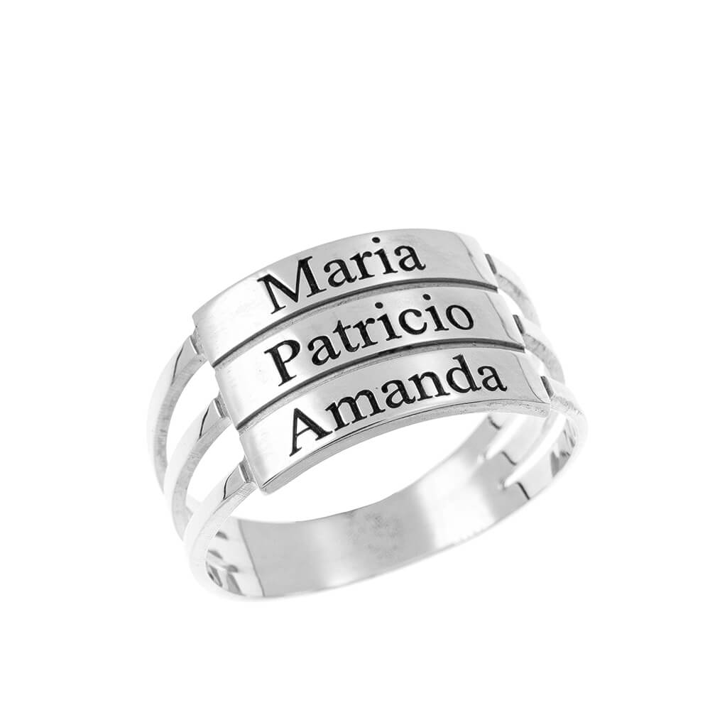 Three Stackable Names Ring silver