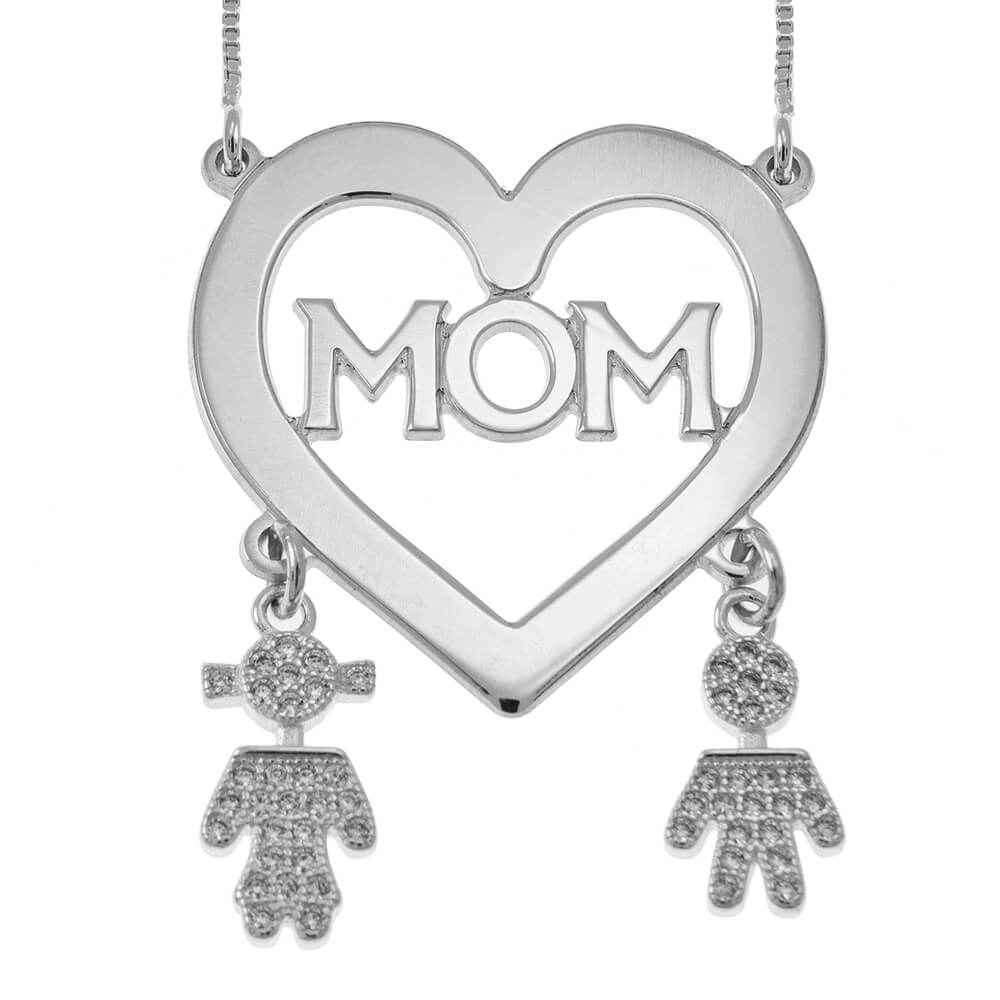 Mom Heart Necklace With Inlay Kids silver