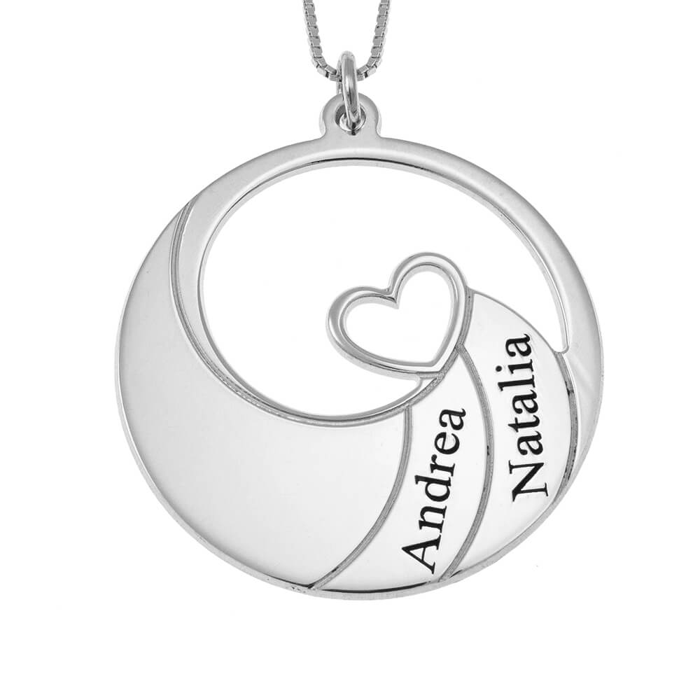 Two Names Spiral Necklace silver