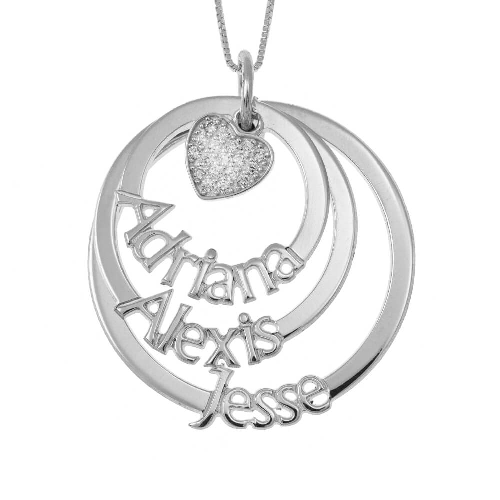 Cut Out Mother Layers Discs Necklace With Inlay Heart silver
