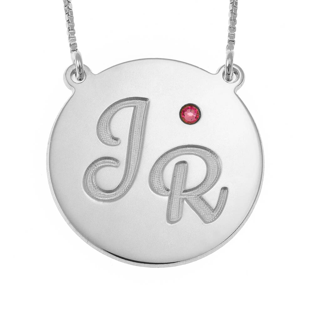Engraved Disc Initials Necklace With Birthstone silver