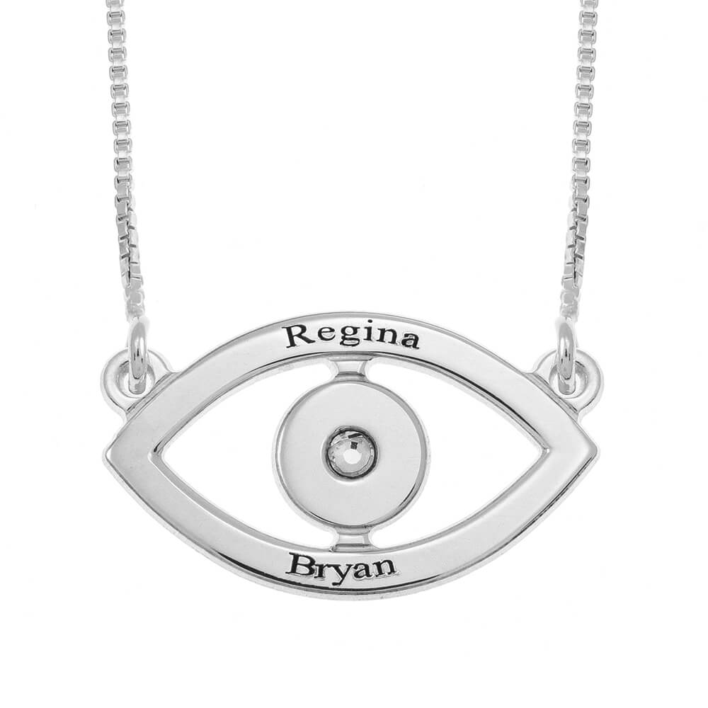 Evil Eye Two Names Necklace silver