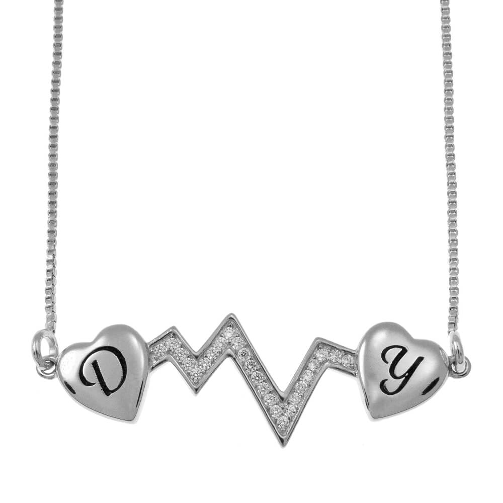 Heartbeat Two Initial Necklace silver