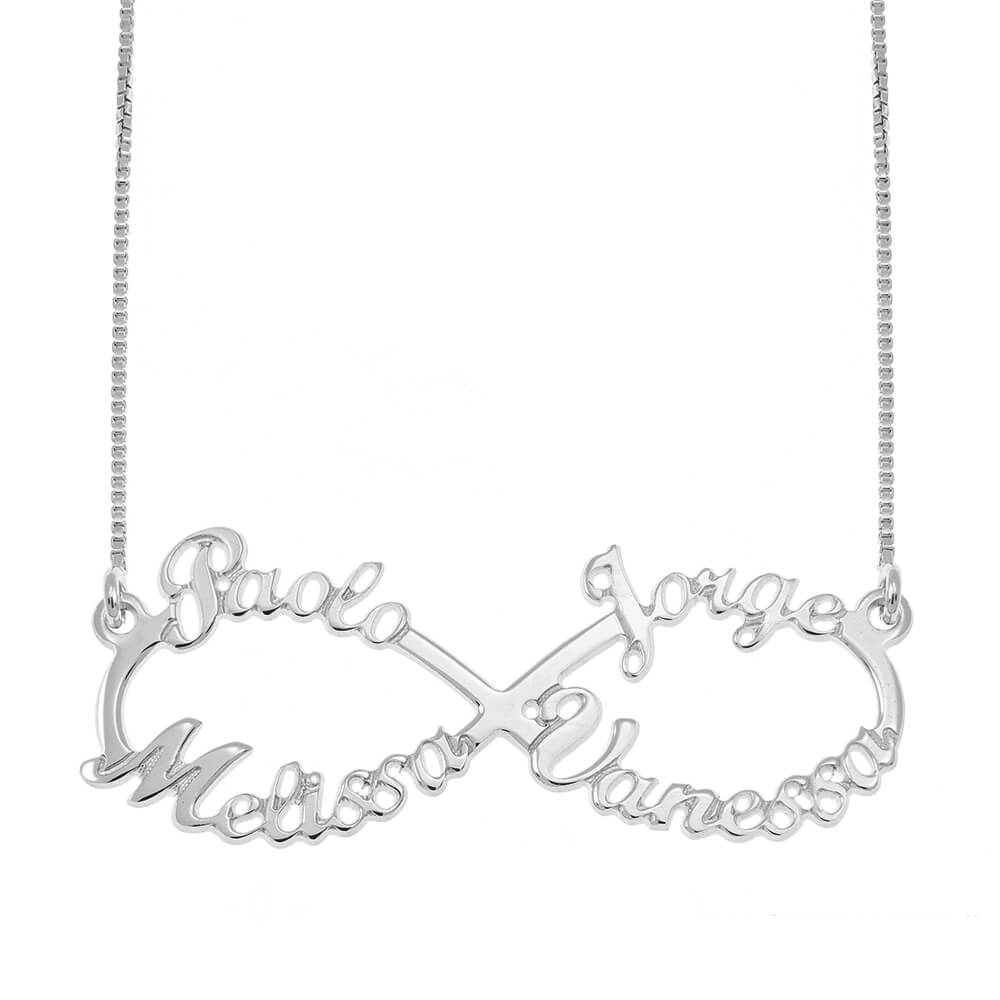 Infinity 4 Names Necklace silver