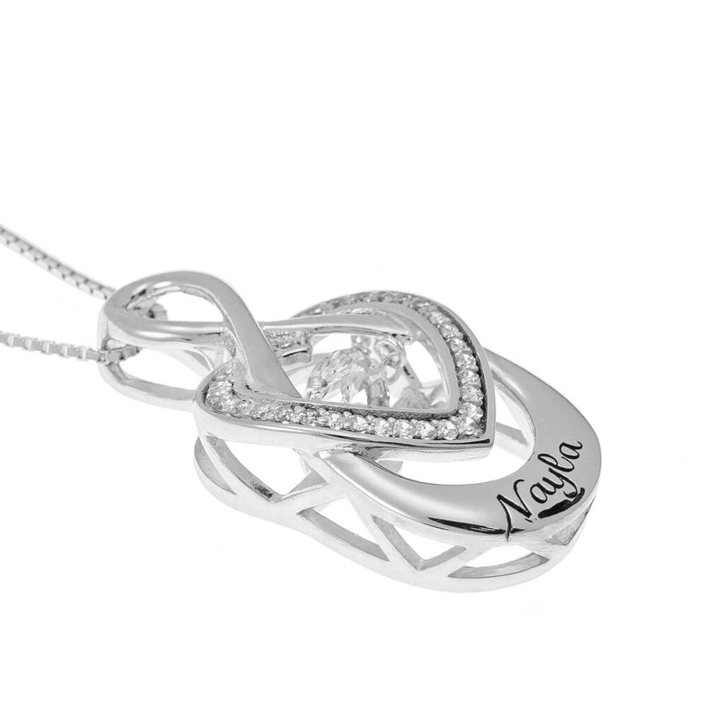 Infinity Inlay Heart Necklace silver side