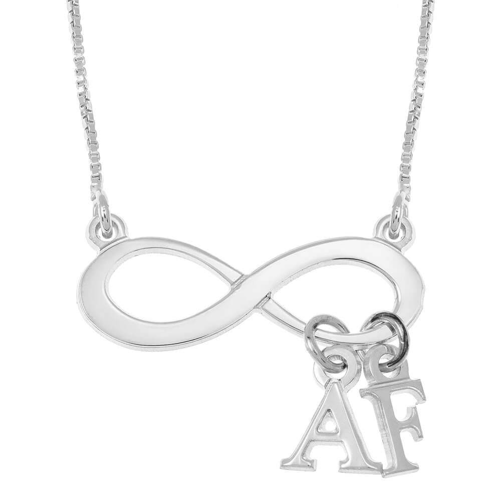 Infinity Necklace With Dangling Initials silver