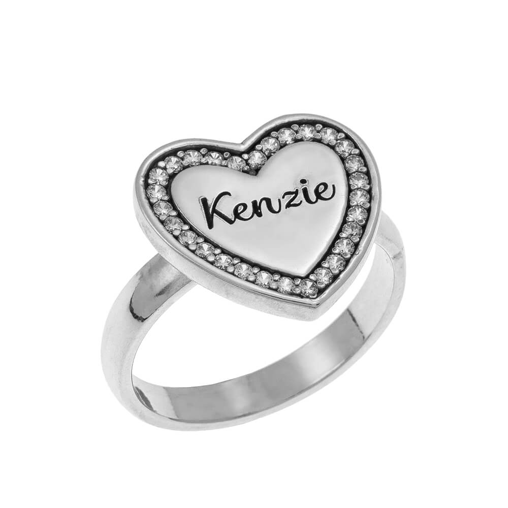 Inlay Heart Signet Ring silver