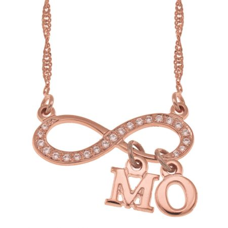 Inlay Infinity Necklace With Dangling Initials