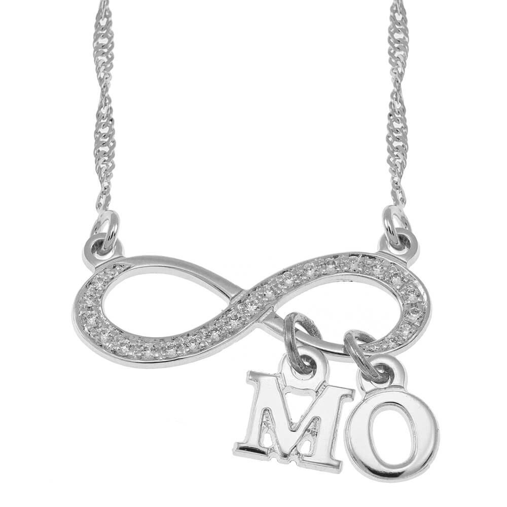 Inlay Infinity Necklace With Dangling Initial silver
