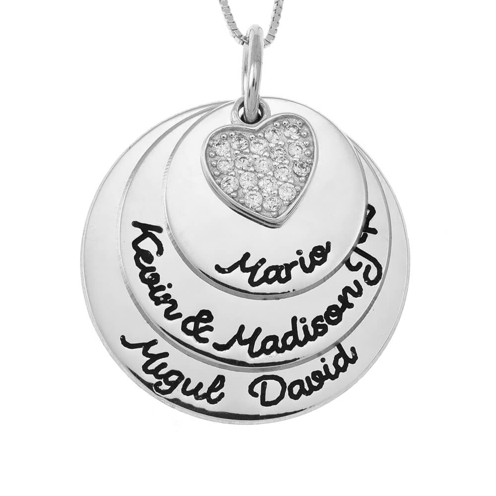 Mother Circles Necklace With Inlay Heart silver