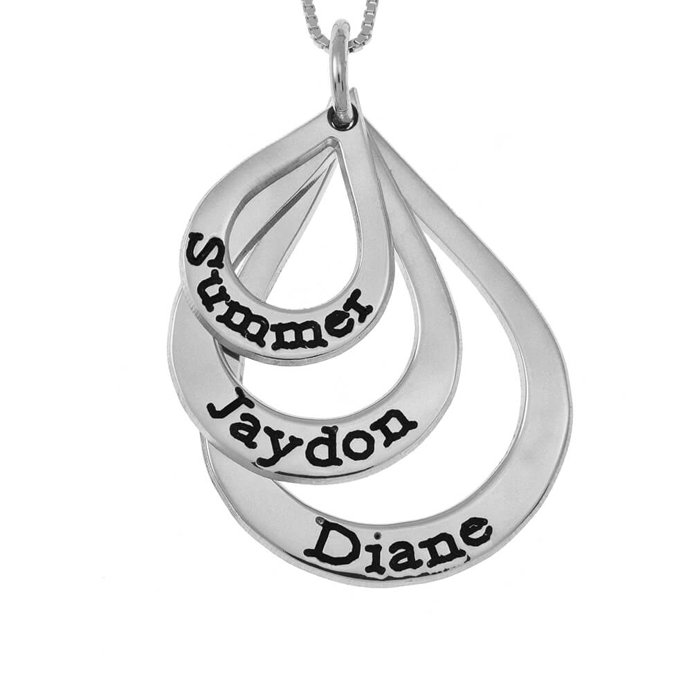 Teardrops Mother Name Necklace silver