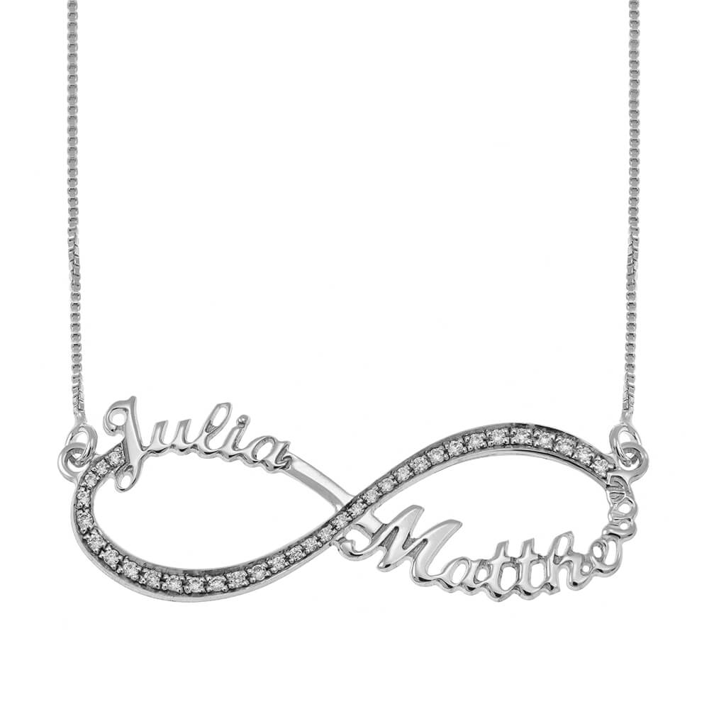 Tow Toned Engraved Infinity Necklace silver