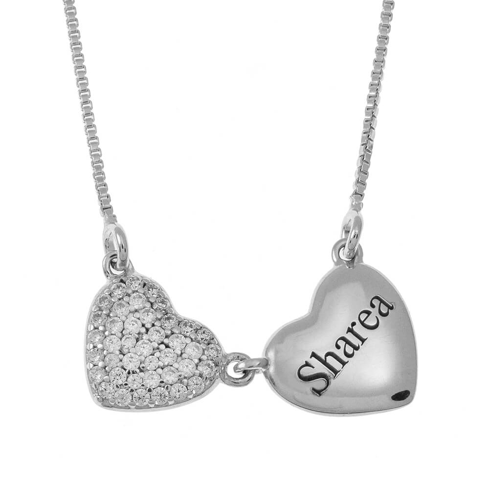 Two Hearts Name Necklace silver