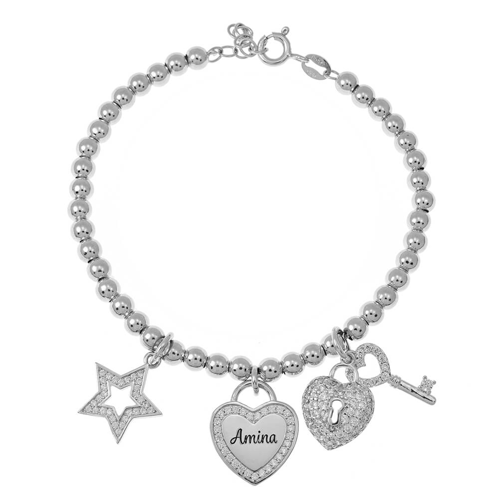 Bead Name Bracelet with Charms silver