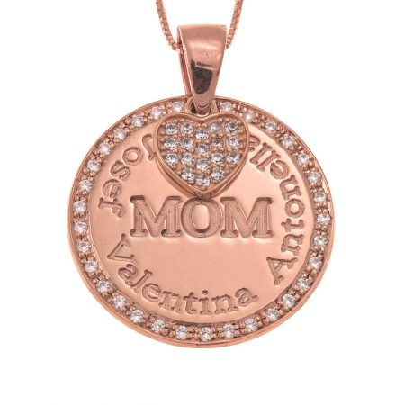 Circle Mother Necklace With Inlay Heart