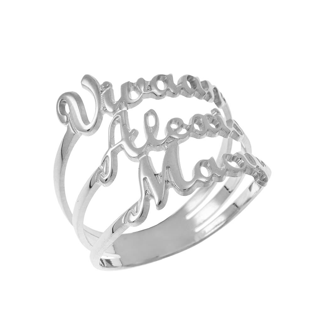 Cut Out 3 Names Ring silver