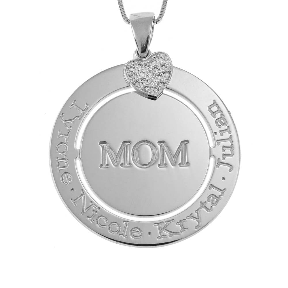 Engraved Circle Mom Necklace with Inlay Heart silver