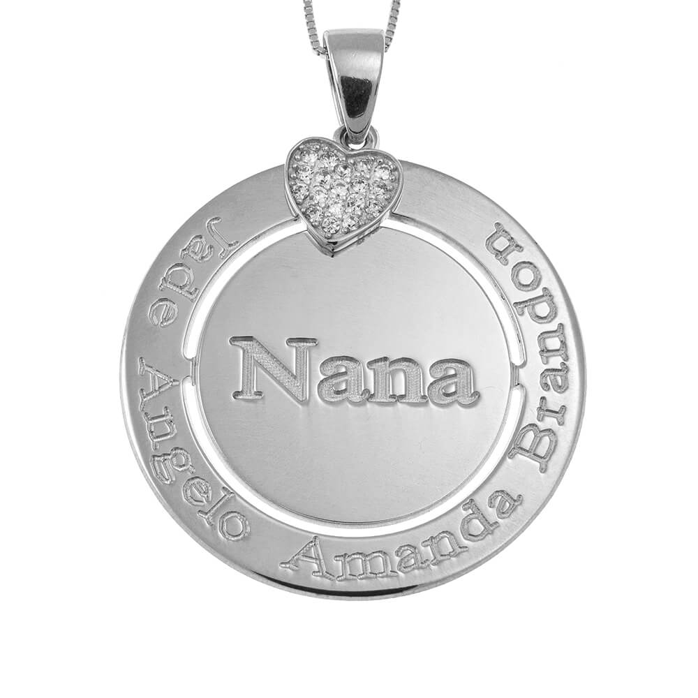 Engraved Circle Nana Necklace with Inlay Heart silver