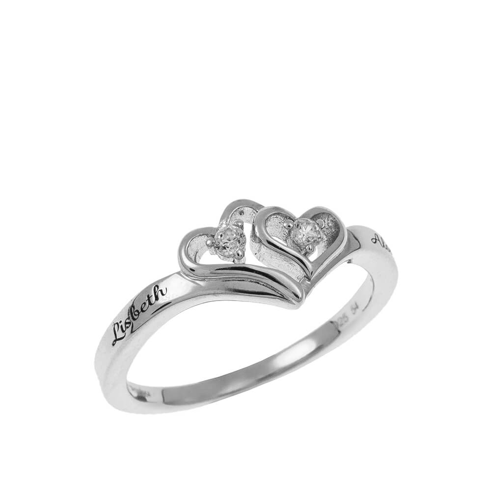 Heart to Heart Promise Ring silver