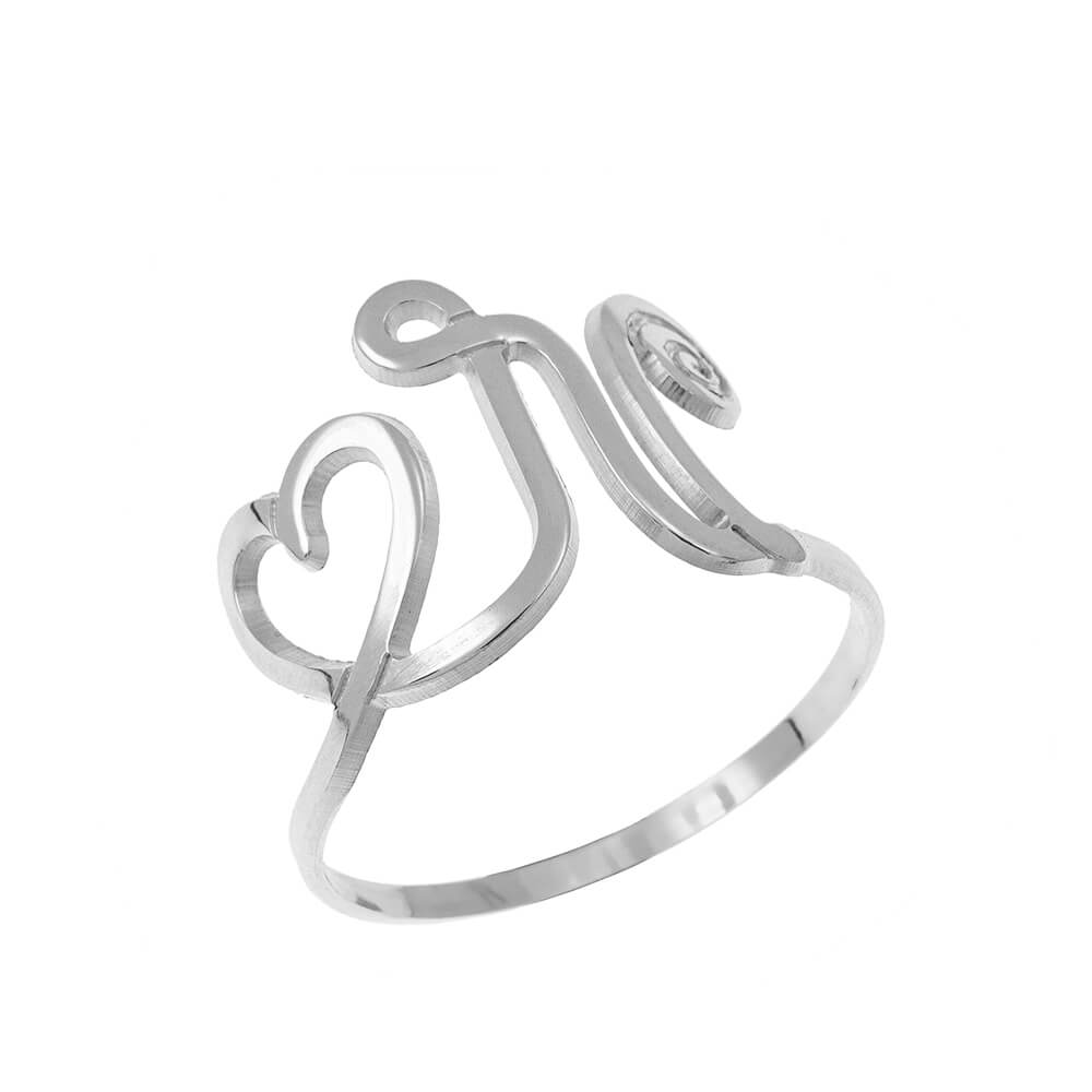Interlocking Heart and Initial Ring silver