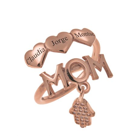 MOM Names Ring With Hearts
