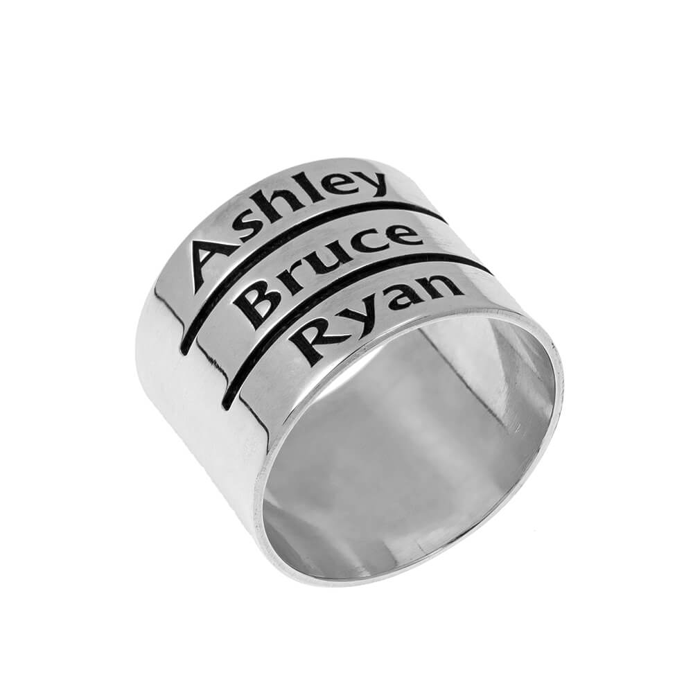 Mother's Engraved Three Names Ring silver
