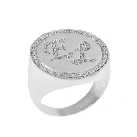 Personalized Two Initials Signet Ring