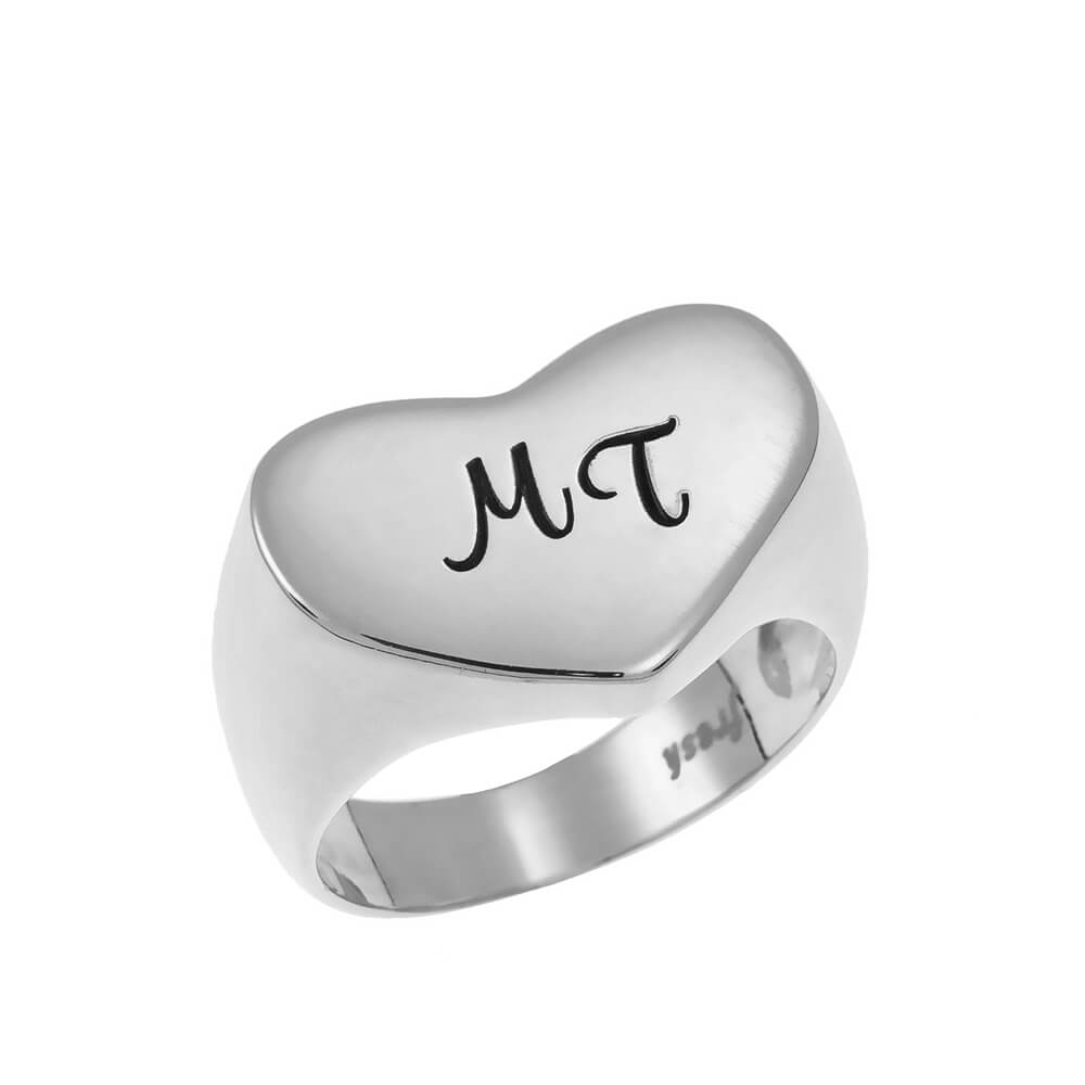 Two Initials Heart Signet Ring silver