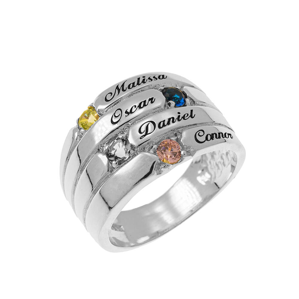 4 Stones Mother Ring silver