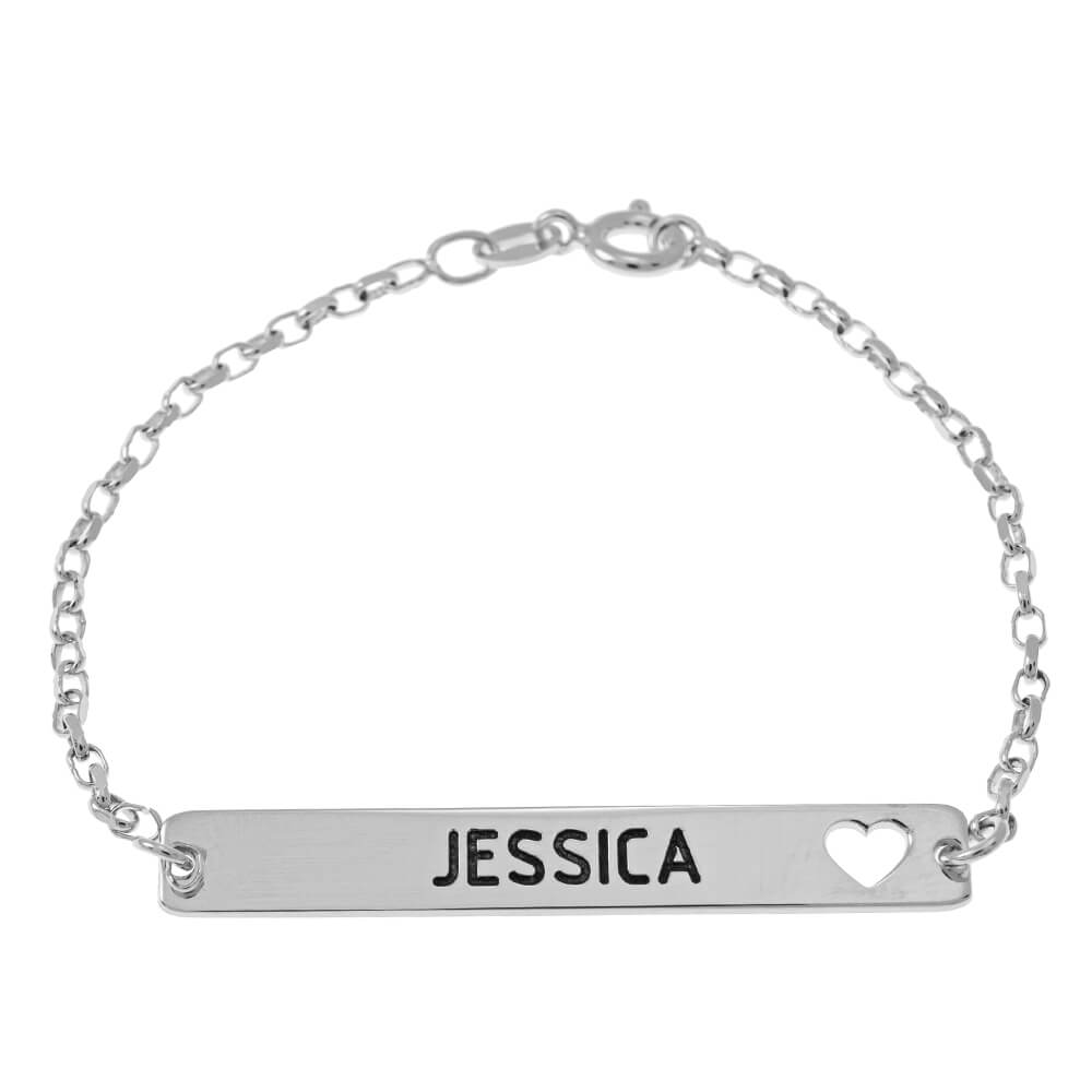 Bar Name and Cut Out Heart Bracelet silver