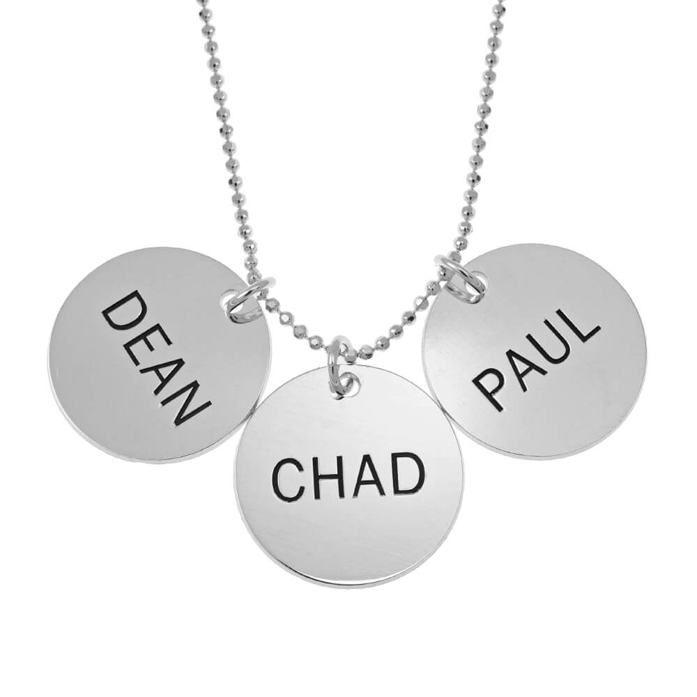 Classic Disc Mom Necklace silver