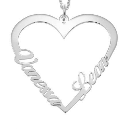 Couple Heart Name Necklace