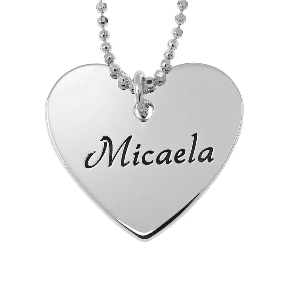 Dainty Heart Name Necklace silver