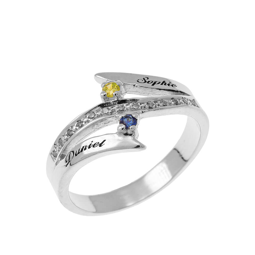Engraved Two Birthstones Inlay Ring silver