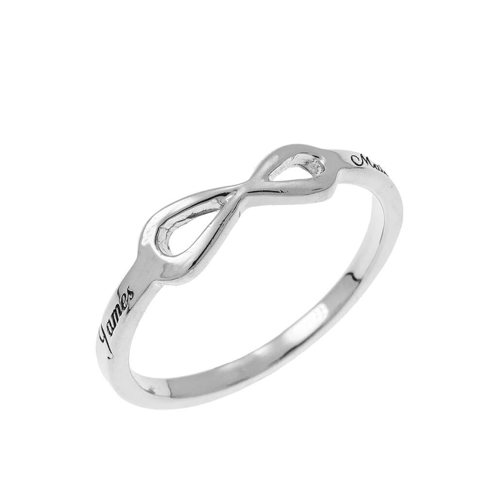 Infinity Love Ring with Engraving silver