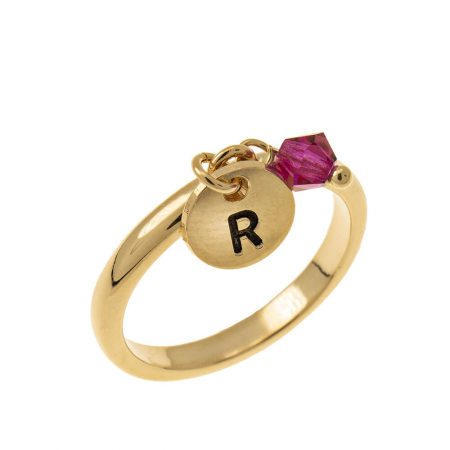 Initial Disc Charm Ring with Birthstone