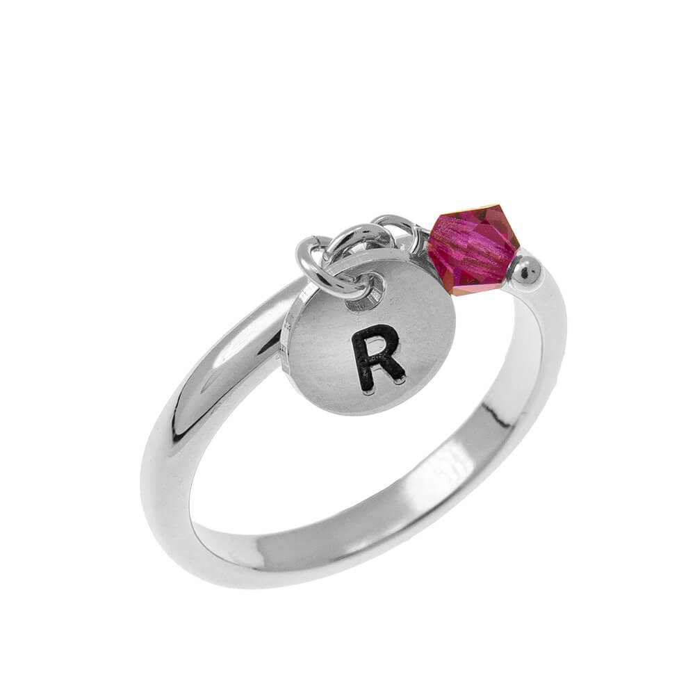 Initial Disc Charm Ring with Birthstone silver