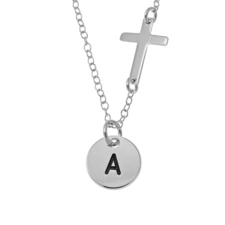 Initial Disc and Cross Necklace