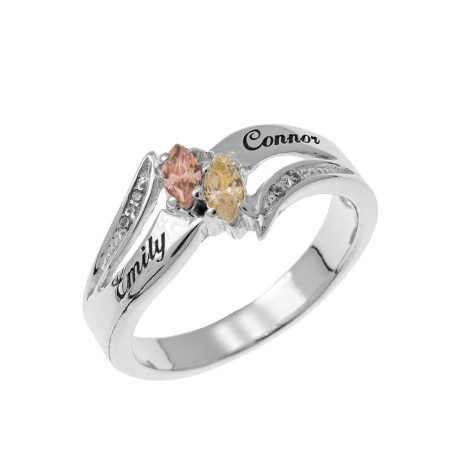 Inlay Couples Birthstones Ring