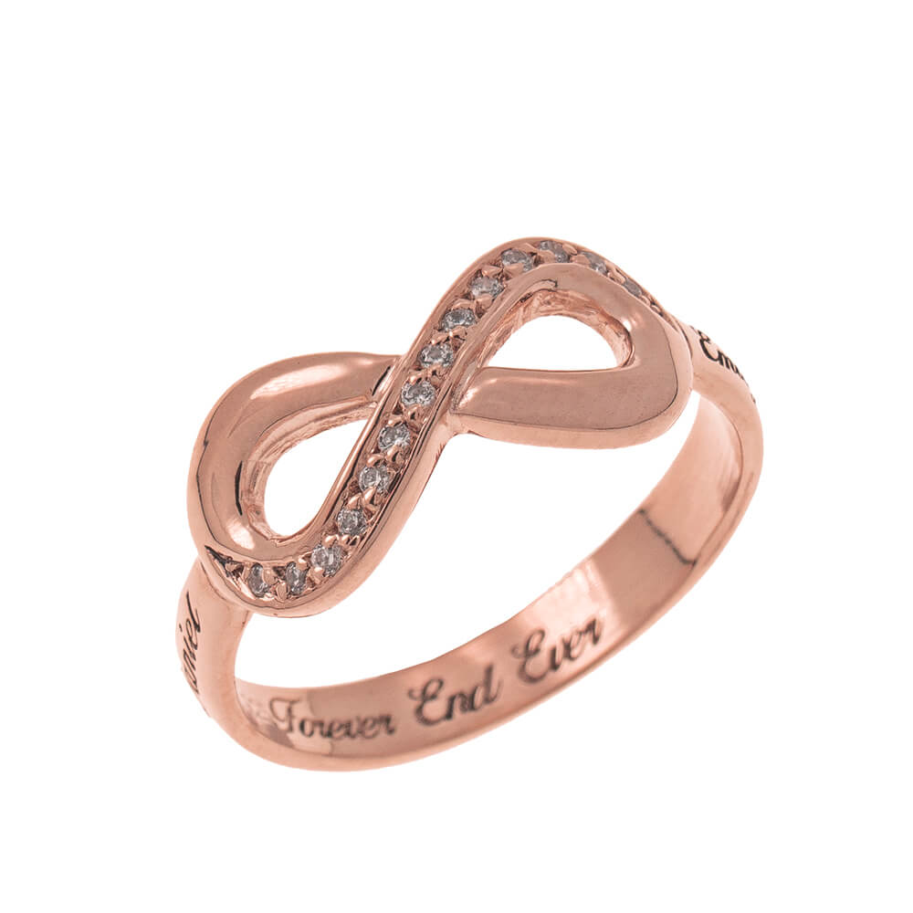Inlay Infinity Ring with Engraving rose gold