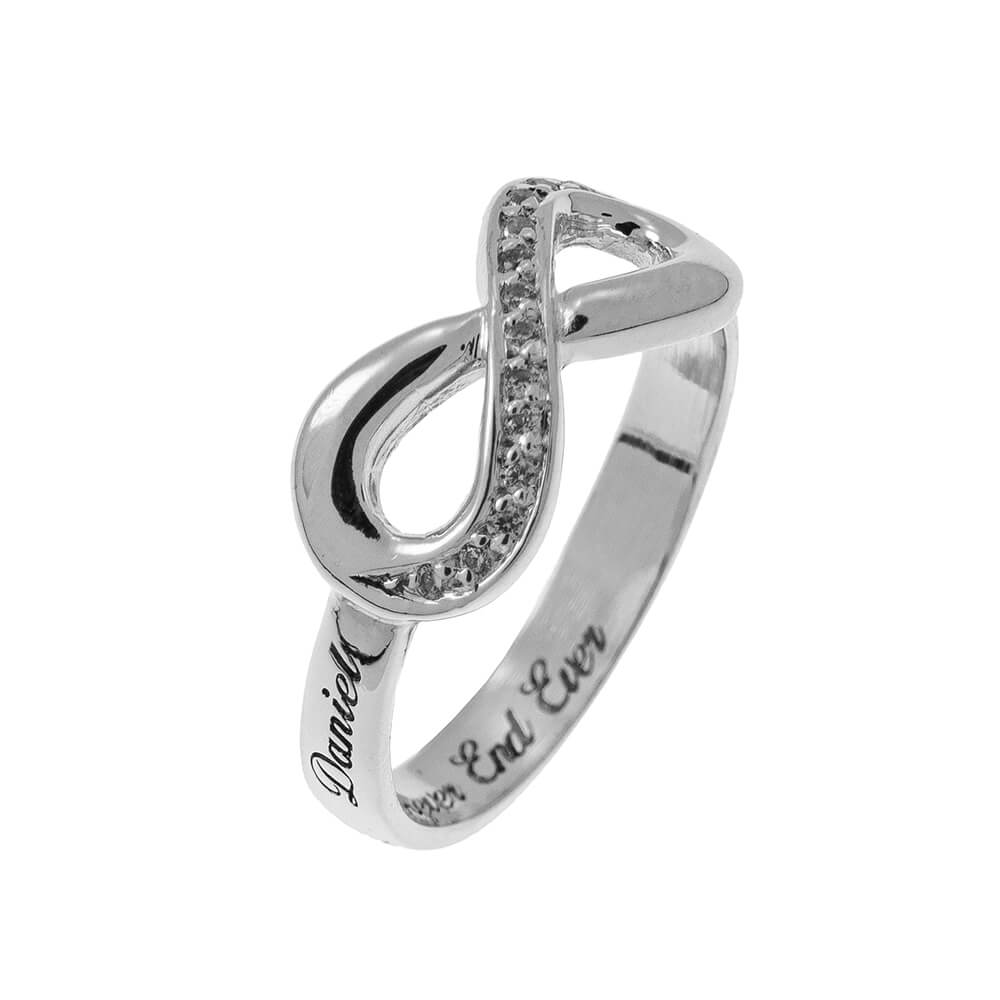 Inlay Infinity Ring with Engraving silver 2