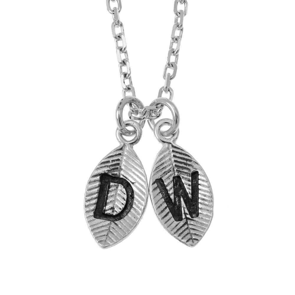 Leaves Initial Charm Necklace silver