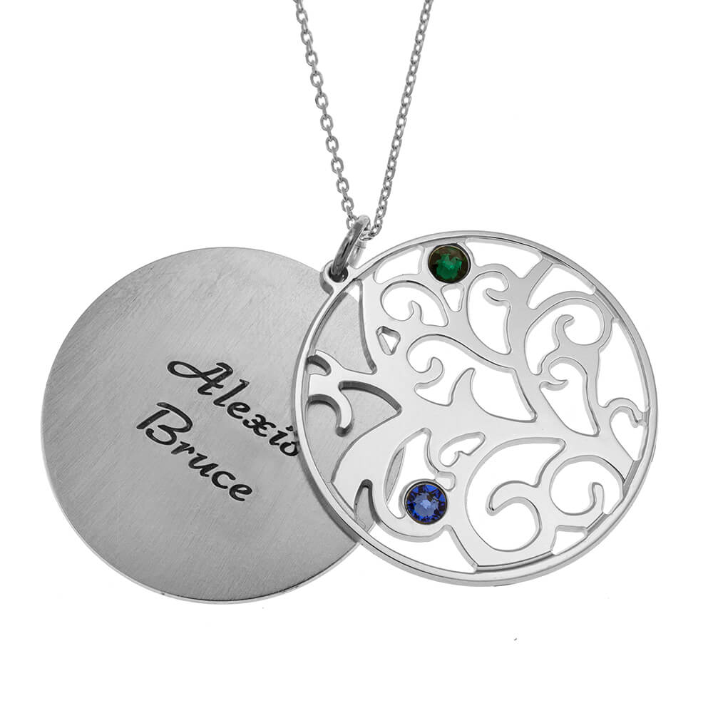 Personalized Double Layer Family Tree Necklace 2 names silver